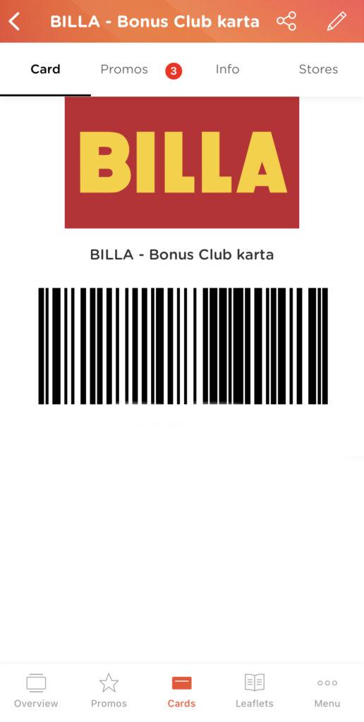 Billa karta v aplikaci portmonka